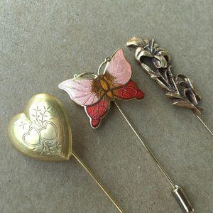 Collection of 3 Stick Pins Heart Locket, Butterfly